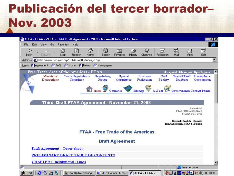 Publicación del tercer borrador– Nov. 2003