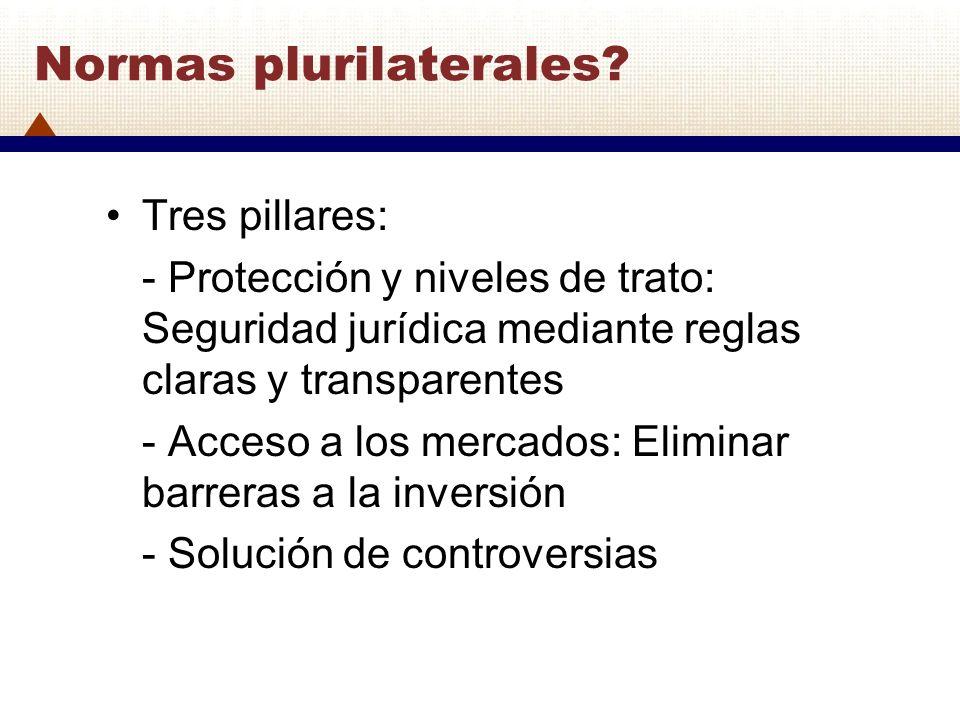 Normas plurilaterales? Tres pillares: - Protección y niveles de trato: Seguridad jurídica mediante reglas claras y transparentes - Acceso a los mercad