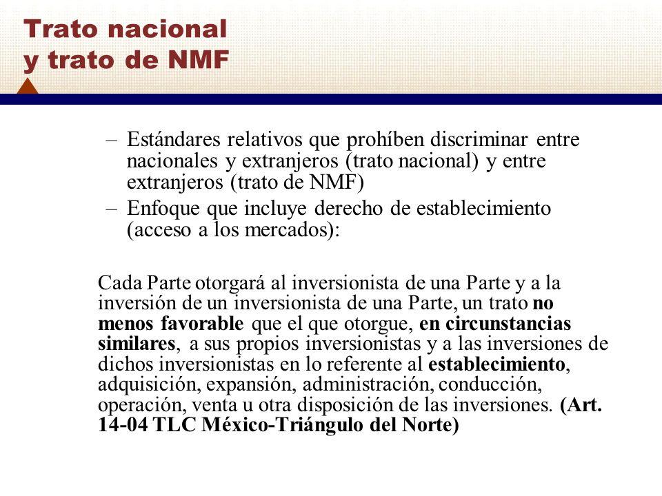 Trato nacional y trato de NMF –Estándares relativos que prohíben discriminar entre nacionales y extranjeros (trato nacional) y entre extranjeros (trat