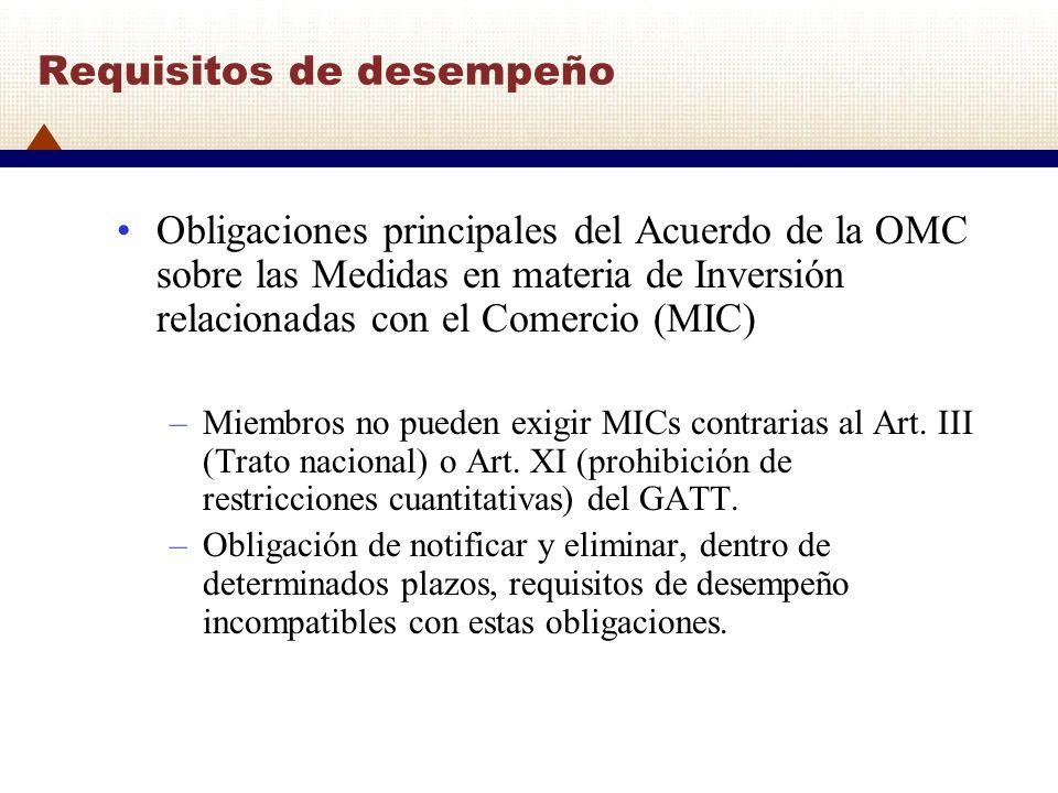 Requisitos de desempeño Obligaciones principales del Acuerdo de la OMC sobre las Medidas en materia de Inversión relacionadas con el Comercio (MIC) –M