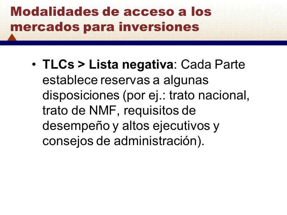 Modalidades de acceso a los mercados para inversiones TLCs > Lista negativa: Cada Parte establece reservas a algunas disposiciones (por ej.: trato nac
