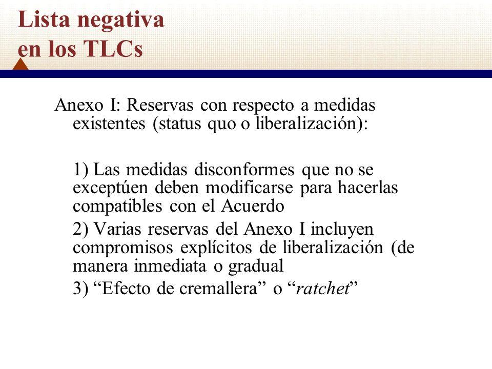 Lista negativa en los TLCs Anexo I: Reservas con respecto a medidas existentes (status quo o liberalización): 1) Las medidas disconformes que no se ex