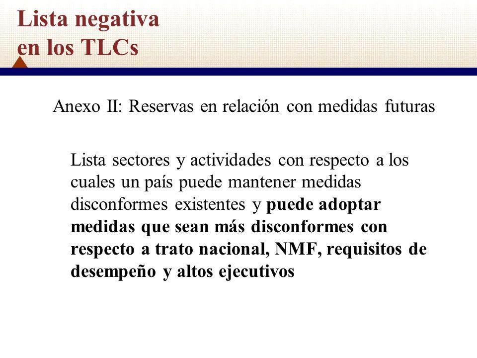 Lista negativa en los TLCs Anexo II: Reservas en relación con medidas futuras Lista sectores y actividades con respecto a los cuales un país puede man