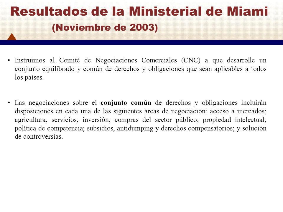 Resultados de la Ministerial de Miami (Noviembre de 2003) Instruimos al Comité de Negociaciones Comerciales (CNC) a que desarrolle un conjunto equilib