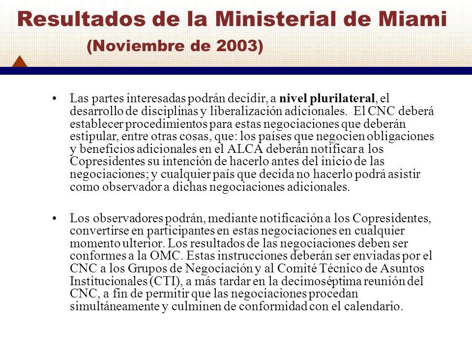 Resultados de la Ministerial de Miami (Noviembre de 2003) Las partes interesadas podrán decidir, a nivel plurilateral, el desarrollo de disciplinas y