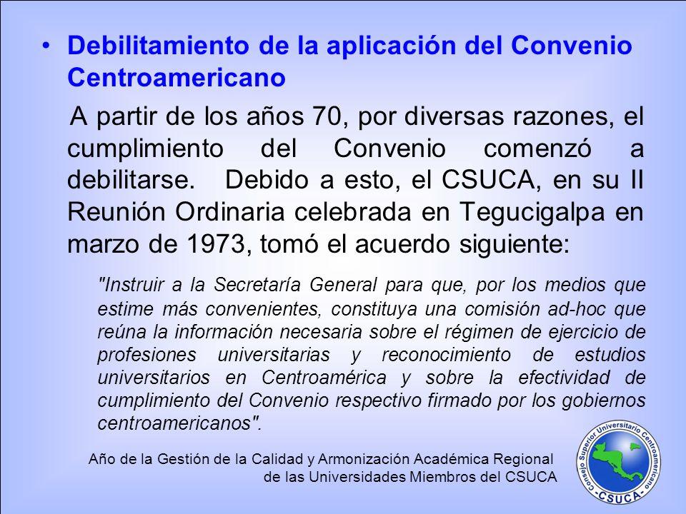 Año de la Gestión de la Calidad y Armonización Académica Regional de las Universidades Miembros del CSUCA Debilitamiento de la aplicación del Convenio