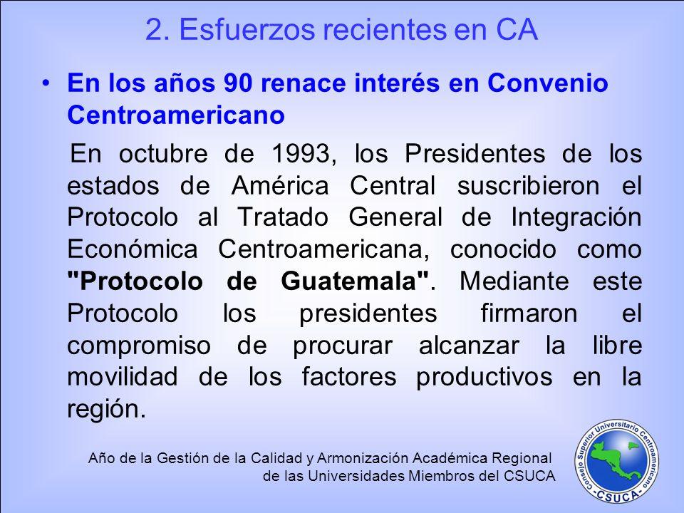 Año de la Gestión de la Calidad y Armonización Académica Regional de las Universidades Miembros del CSUCA 2. Esfuerzos recientes en CA En los años 90