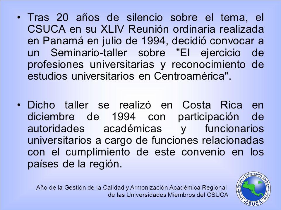 Año de la Gestión de la Calidad y Armonización Académica Regional de las Universidades Miembros del CSUCA Tras 20 años de silencio sobre el tema, el C
