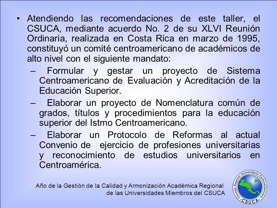 Año de la Gestión de la Calidad y Armonización Académica Regional de las Universidades Miembros del CSUCA Atendiendo las recomendaciones de este taller, el CSUCA, mediante acuerdo No.