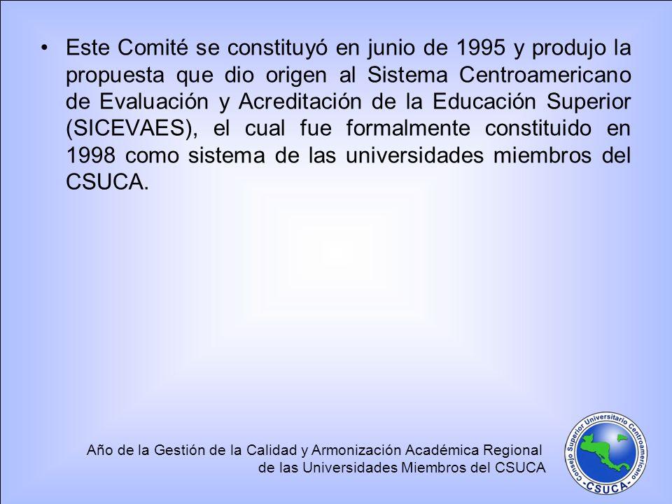 Año de la Gestión de la Calidad y Armonización Académica Regional de las Universidades Miembros del CSUCA Este Comité se constituyó en junio de 1995 y