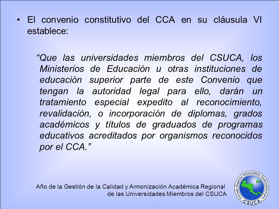 Año de la Gestión de la Calidad y Armonización Académica Regional de las Universidades Miembros del CSUCA El convenio constitutivo del CCA en su cláus