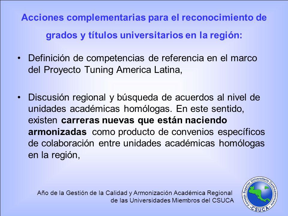 Año de la Gestión de la Calidad y Armonización Académica Regional de las Universidades Miembros del CSUCA Acciones complementarias para el reconocimie