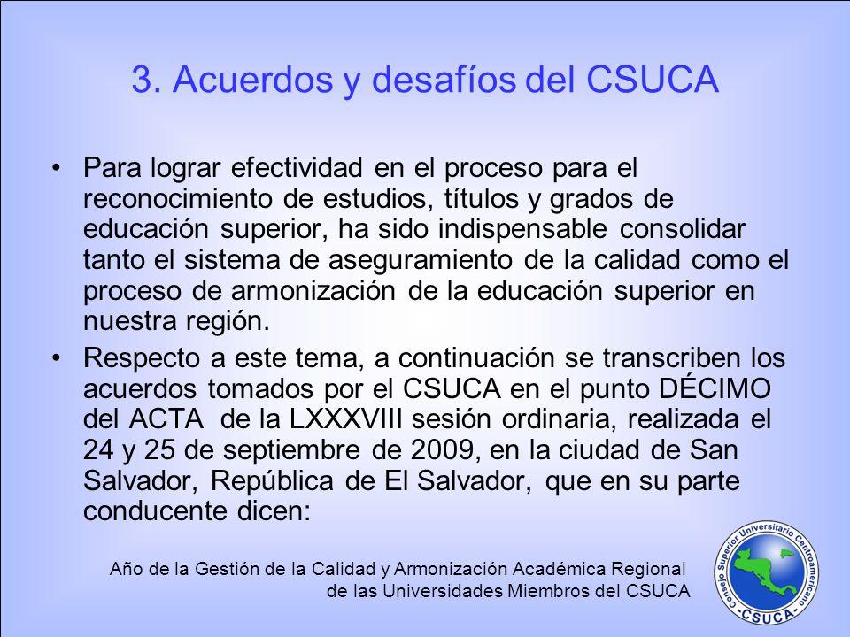 Año de la Gestión de la Calidad y Armonización Académica Regional de las Universidades Miembros del CSUCA 3. Acuerdos y desafíos del CSUCA Para lograr