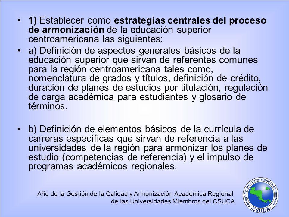 Año de la Gestión de la Calidad y Armonización Académica Regional de las Universidades Miembros del CSUCA 1) Establecer como estrategias centrales del