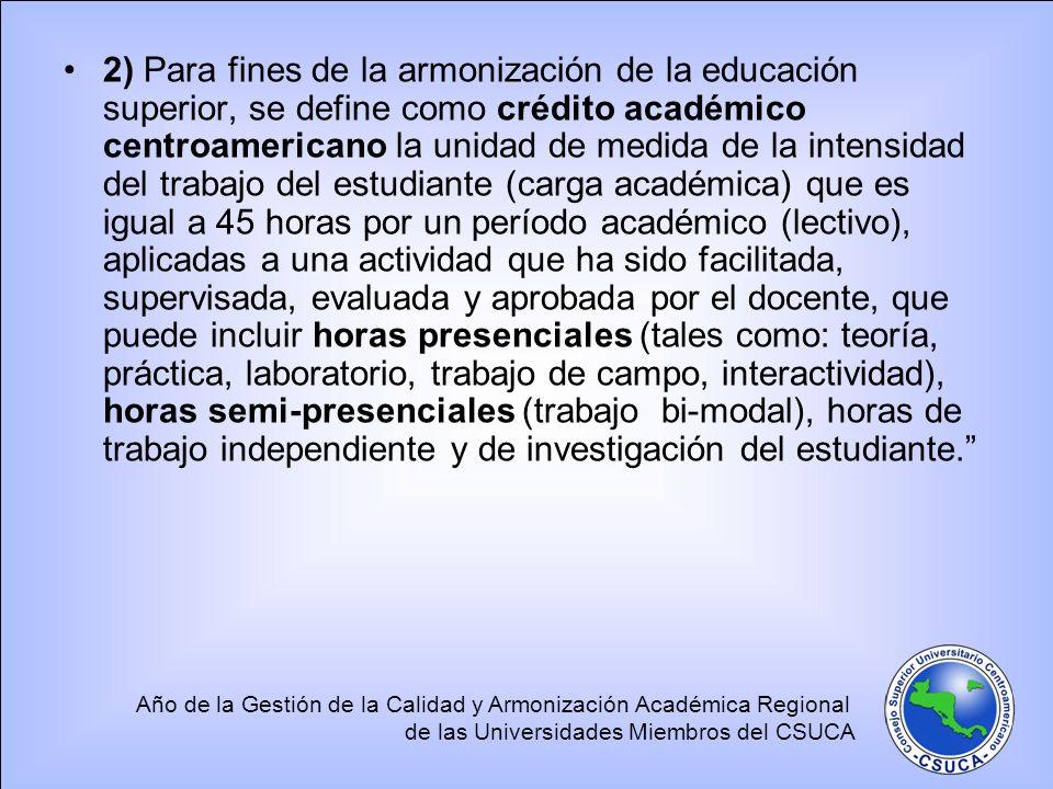 Año de la Gestión de la Calidad y Armonización Académica Regional de las Universidades Miembros del CSUCA 2) Para fines de la armonización de la educa