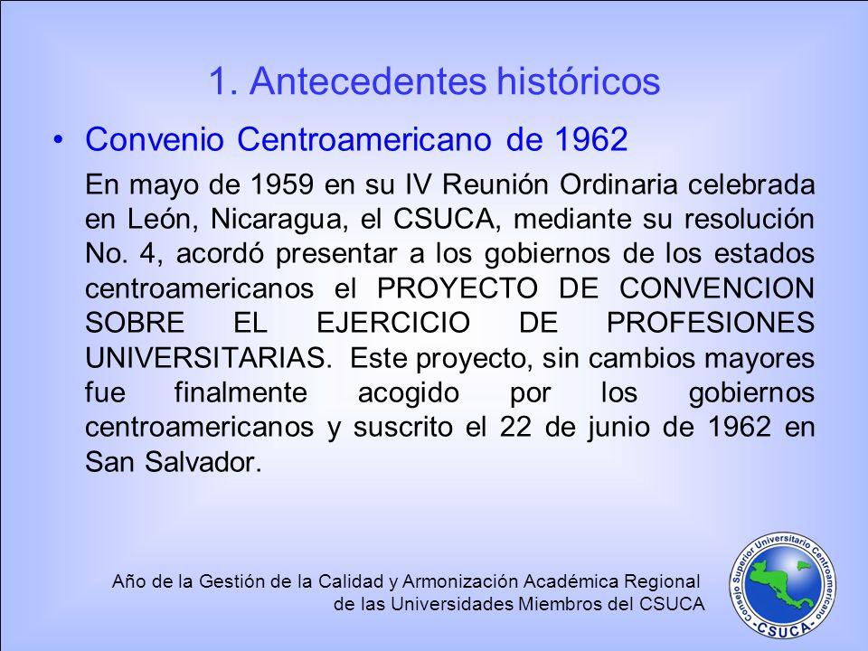 Año de la Gestión de la Calidad y Armonización Académica Regional de las Universidades Miembros del CSUCA 1. Antecedentes históricos Convenio Centroam