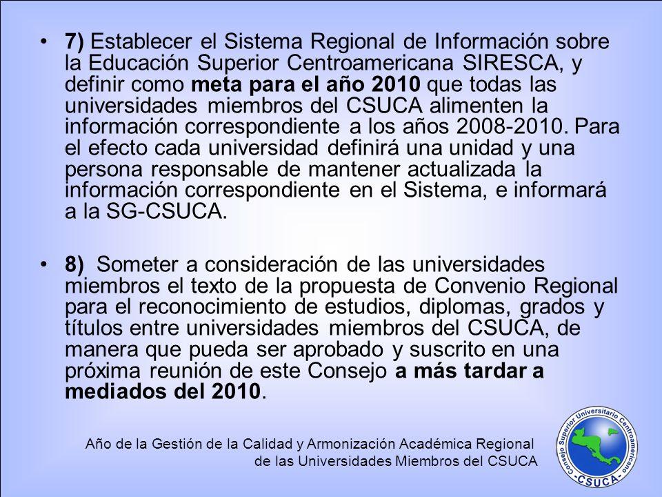 Año de la Gestión de la Calidad y Armonización Académica Regional de las Universidades Miembros del CSUCA 7) Establecer el Sistema Regional de Informa