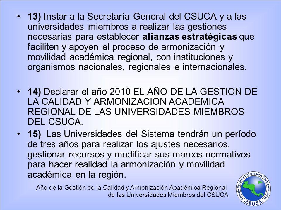 Año de la Gestión de la Calidad y Armonización Académica Regional de las Universidades Miembros del CSUCA 13) Instar a la Secretaría General del CSUCA