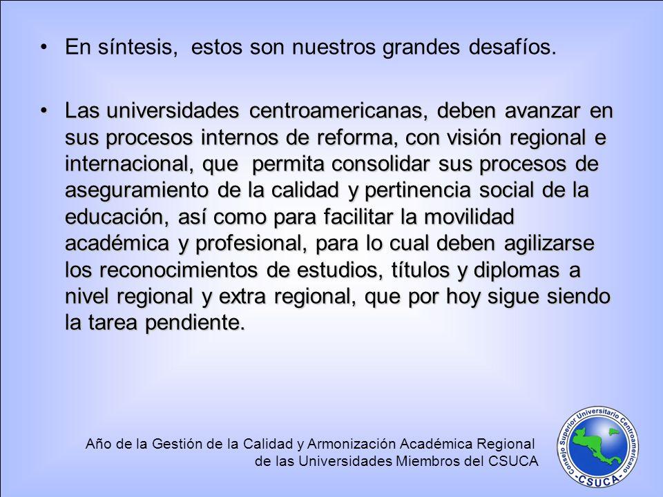 Año de la Gestión de la Calidad y Armonización Académica Regional de las Universidades Miembros del CSUCA En síntesis, estos son nuestros grandes desa