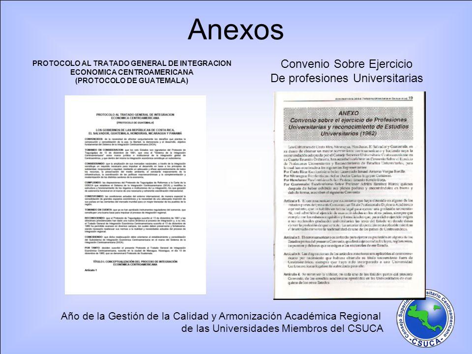 Año de la Gestión de la Calidad y Armonización Académica Regional de las Universidades Miembros del CSUCA Anexos PROTOCOLO AL TRATADO GENERAL DE INTEG