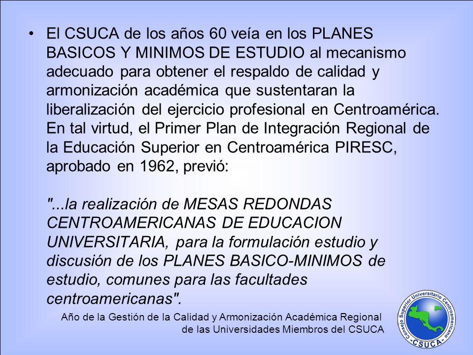 Año de la Gestión de la Calidad y Armonización Académica Regional de las Universidades Miembros del CSUCA Durante la década del 60 se realizaron en Centroamérica decenas de mesas redondas de este tipo, a donde asistían los Decanos de las facultades de una misma área temática de las universidades miembros.