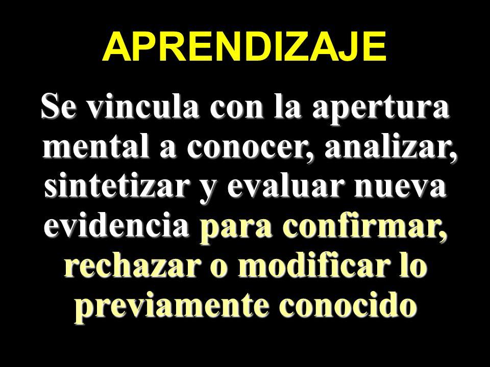 APRENDIZAJE Se vincula con la apertura mental a conocer, analizar, mental a conocer, analizar, sintetizar y evaluar nueva evidencia para confirmar, re