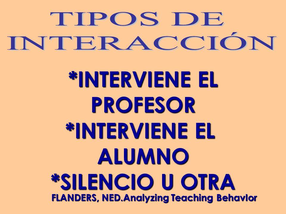 *INTERVIENE EL PROFESOR ALUMNO *SILENCIO U OTRA FLANDERS, NED.Analyzing Teaching BehavIor