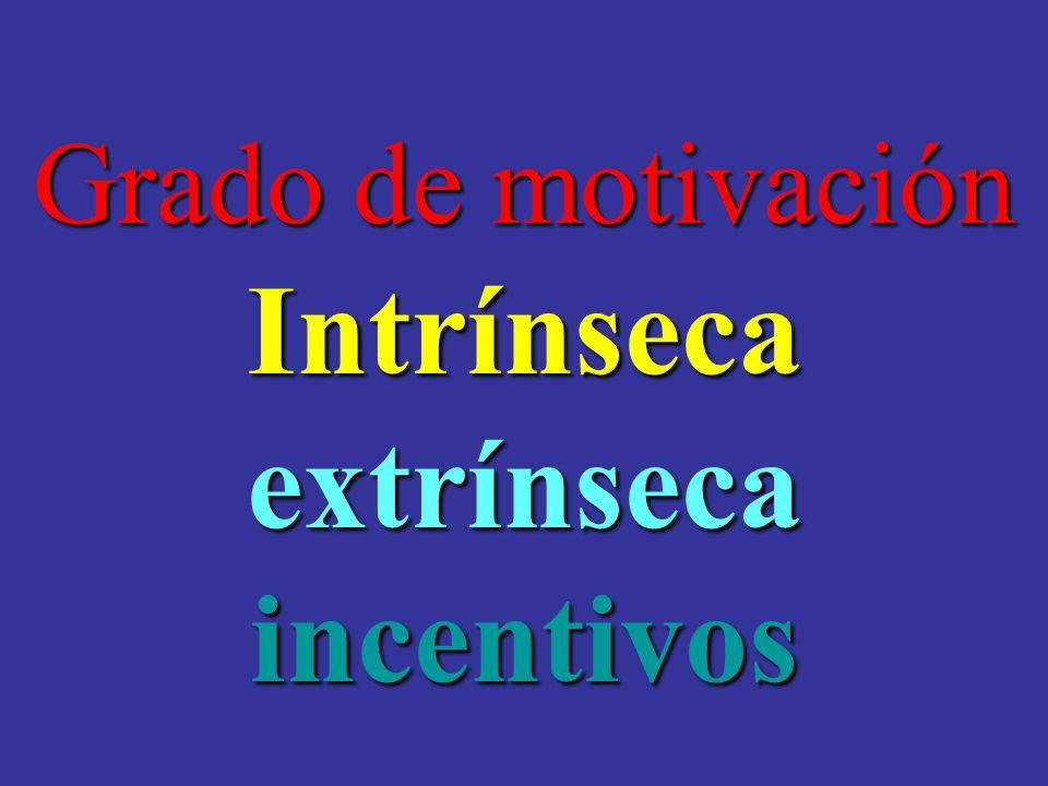 Grado de motivación Intrínsecaextrínsecaincentivos