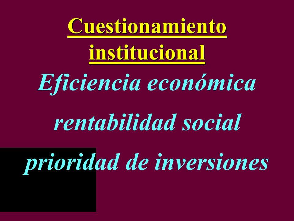 Cuestionamiento institucional Eficiencia económica rentabilidad social prioridad de inversiones