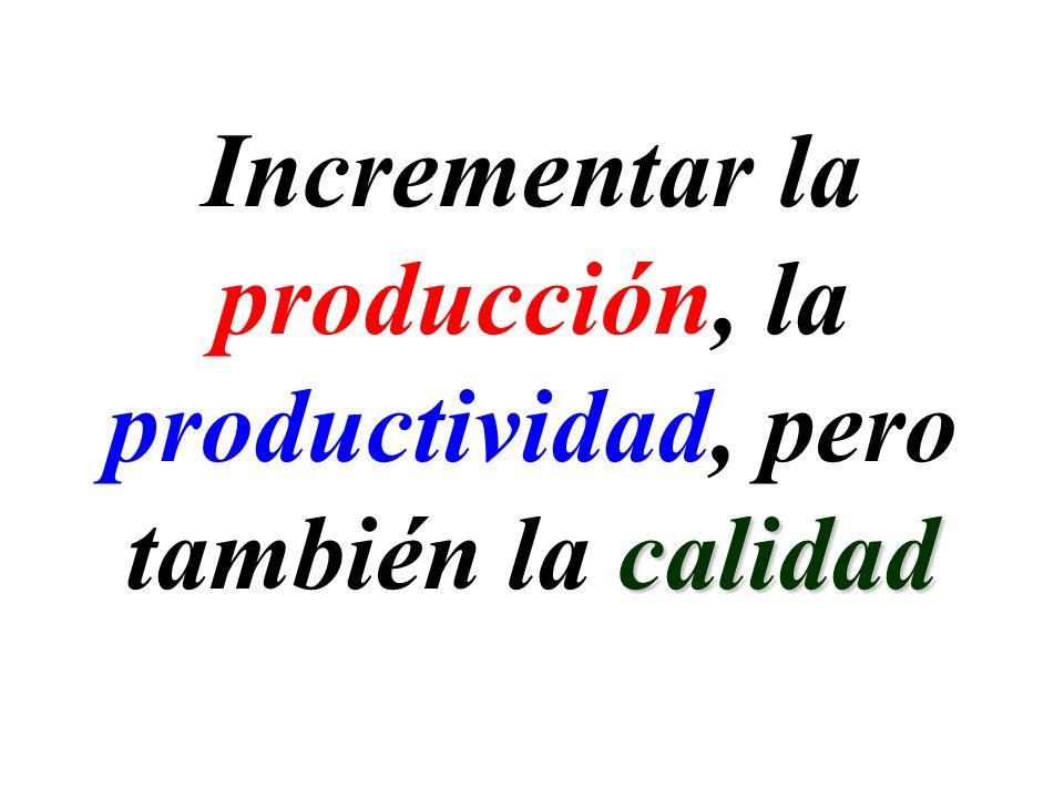 Incrementar la producción, la productividad, pero calidad también la calidad