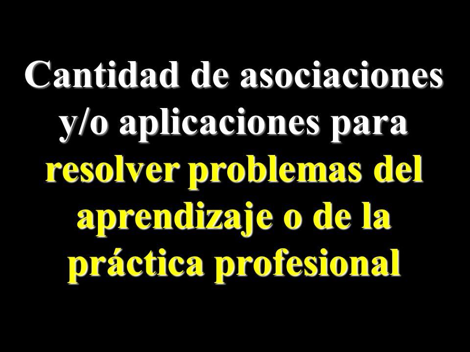 Cantidad de asociaciones y/o aplicaciones para resolver problemas del aprendizaje o de la práctica profesional