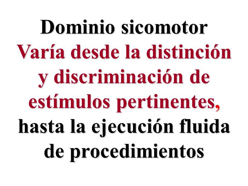 Dominio sicomotor Varía desde la distinción y discriminación de estímulos pertinentes, hasta la ejecución fluida de procedimientos