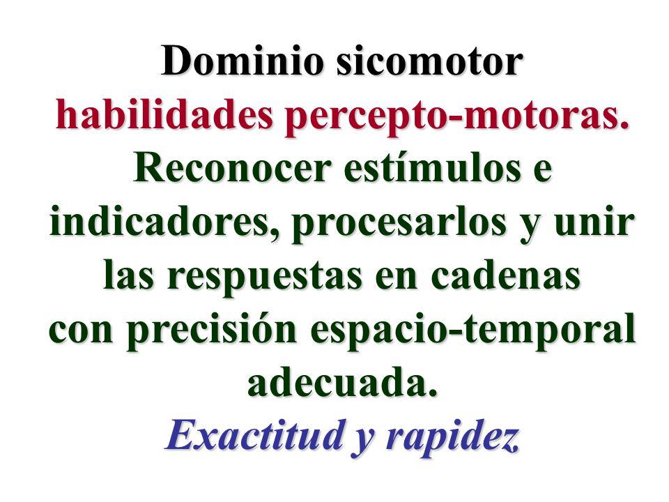 Dominio sicomotor habilidades percepto-motoras. Reconocer estímulos e indicadores, procesarlos y unir las respuestas en cadenas con precisión espacio-