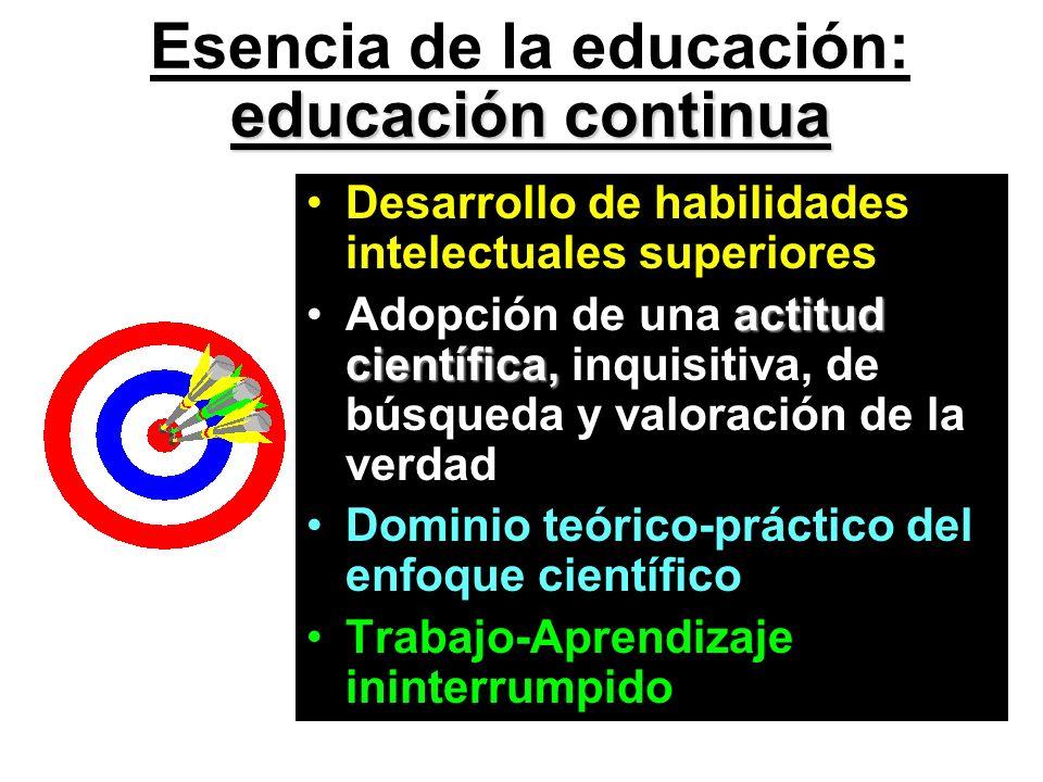 educación continua Esencia de la educación: educación continua Desarrollo de habilidades intelectuales superiores actitud científica,Adopción de una a