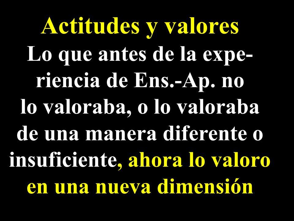 Actitudes y valores Lo que antes de la expe- riencia de Ens.-Ap. no lo valoraba, o lo valoraba de una manera diferente o insuficiente, ahora lo valoro