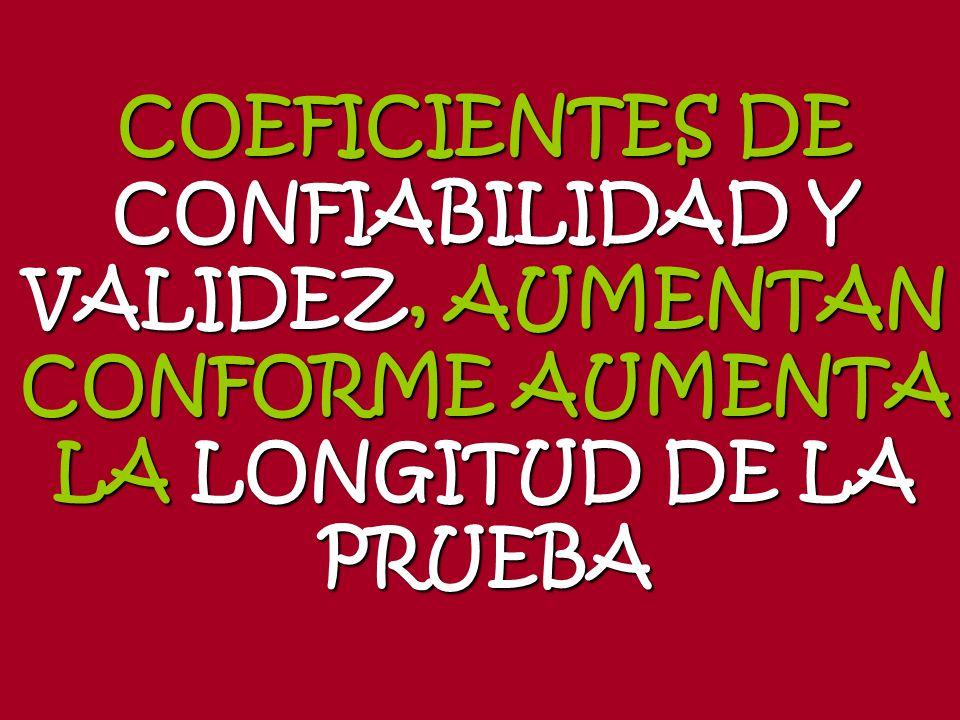COEFICIENTES DE CONFIABILIDAD Y VALIDEZ, AUMENTAN CONFORME AUMENTA LA LONGITUD DE LA PRUEBA