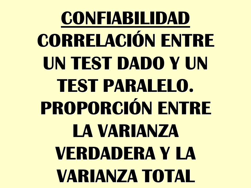 CONFIABILIDAD CORRELACIÓN ENTRE UN TEST DADO Y UN TEST PARALELO. PROPORCIÓN ENTRE LA VARIANZA VERDADERA Y LA VARIANZA TOTAL