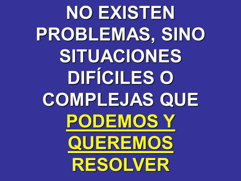 NO EXISTEN PROBLEMAS, SINO SITUACIONES DIFÍCILES O COMPLEJAS QUE PODEMOS Y QUEREMOSRESOLVER