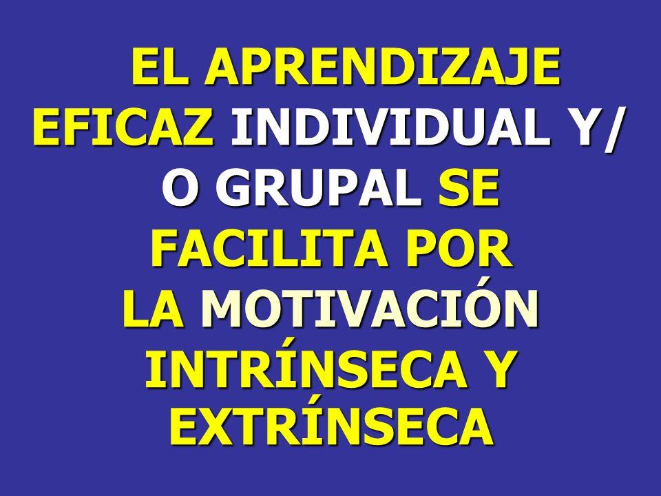 EL APRENDIZAJE EL APRENDIZAJE EFICAZ INDIVIDUAL Y/ O GRUPAL SE FACILITA POR LA MOTIVACIÓN INTRÍNSECA Y EXTRÍNSECA