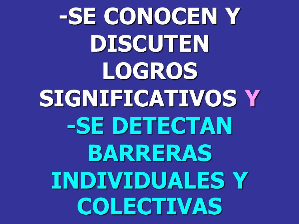 -SE CONOCEN Y DISCUTENLOGROS SIGNIFICATIVOS Y -SE DETECTAN BARRERAS INDIVIDUALES Y COLECTIVAS