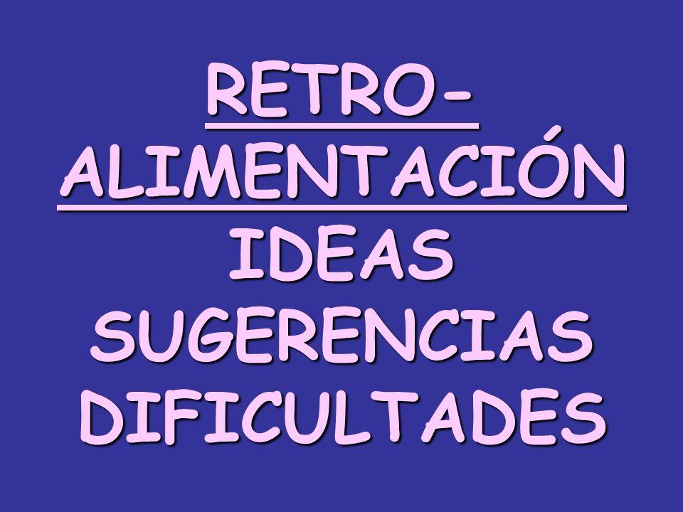 RETRO-ALIMENTACIÓNIDEASSUGERENCIASDIFICULTADES