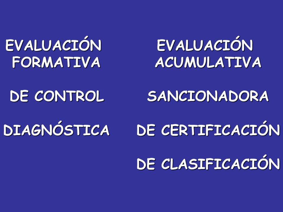 EVALUACIÓNFORMATIVA DE CONTROL DIAGNÓSTICAEVALUACIÓNACUMULATIVASANCIONADORA DE CERTIFICACIÓN DE CLASIFICACIÓN