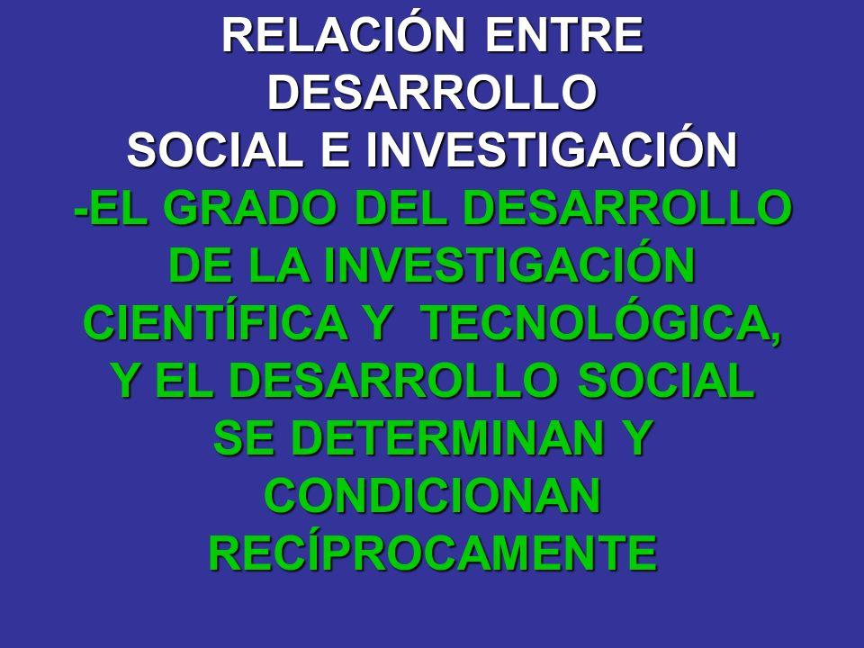 RELACIÓN ENTRE DESARROLLO SOCIAL E INVESTIGACIÓN -EL GRADO DEL DESARROLLO DE LA INVESTIGACIÓN CIENTÍFICA Y TECNOLÓGICA, Y EL DESARROLLO SOCIAL SE DETE