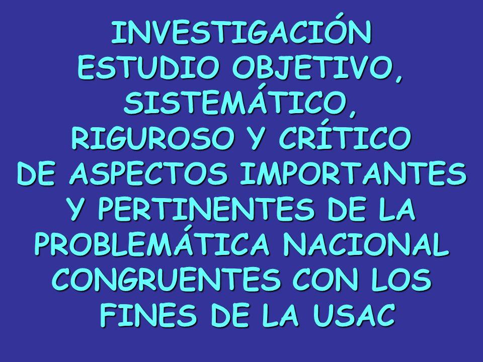 INVESTIGACIÓN ESTUDIO OBJETIVO, SISTEMÁTICO, RIGUROSO Y CRÍTICO DE ASPECTOS IMPORTANTES Y PERTINENTES DE LA PROBLEMÁTICA NACIONAL CONGRUENTES CON LOS