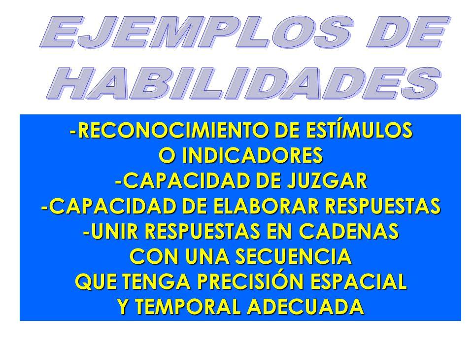 -RECONOCIMIENTO DE ESTÍMULOS O INDICADORES -CAPACIDAD DE JUZGAR -CAPACIDAD DE ELABORAR RESPUESTAS -UNIR RESPUESTAS EN CADENAS CON UNA SECUENCIA QUE TE