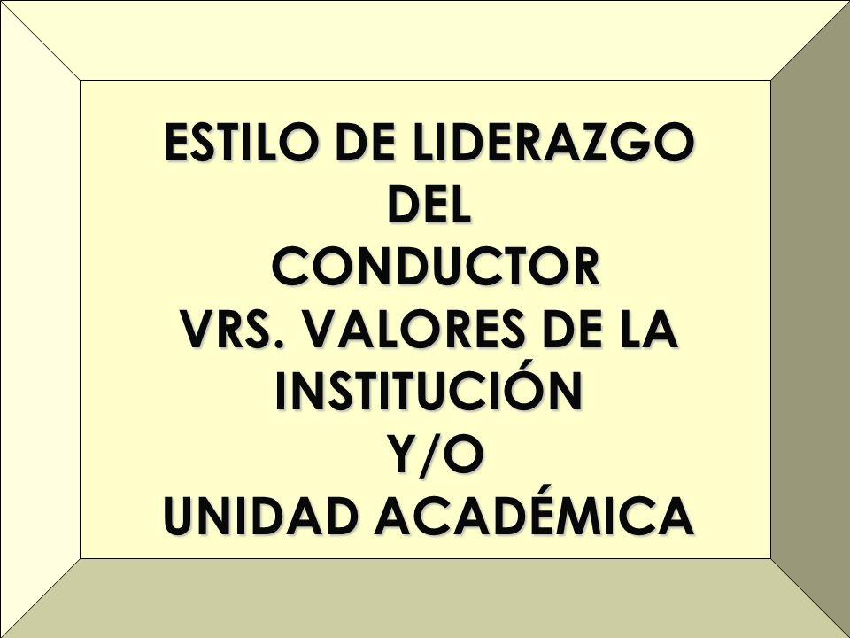 ESTILO DE LIDERAZGO DEL CONDUCTOR CONDUCTOR VRS. VALORES DE LA INSTITUCIÓN Y/O Y/O UNIDAD ACADÉMICA