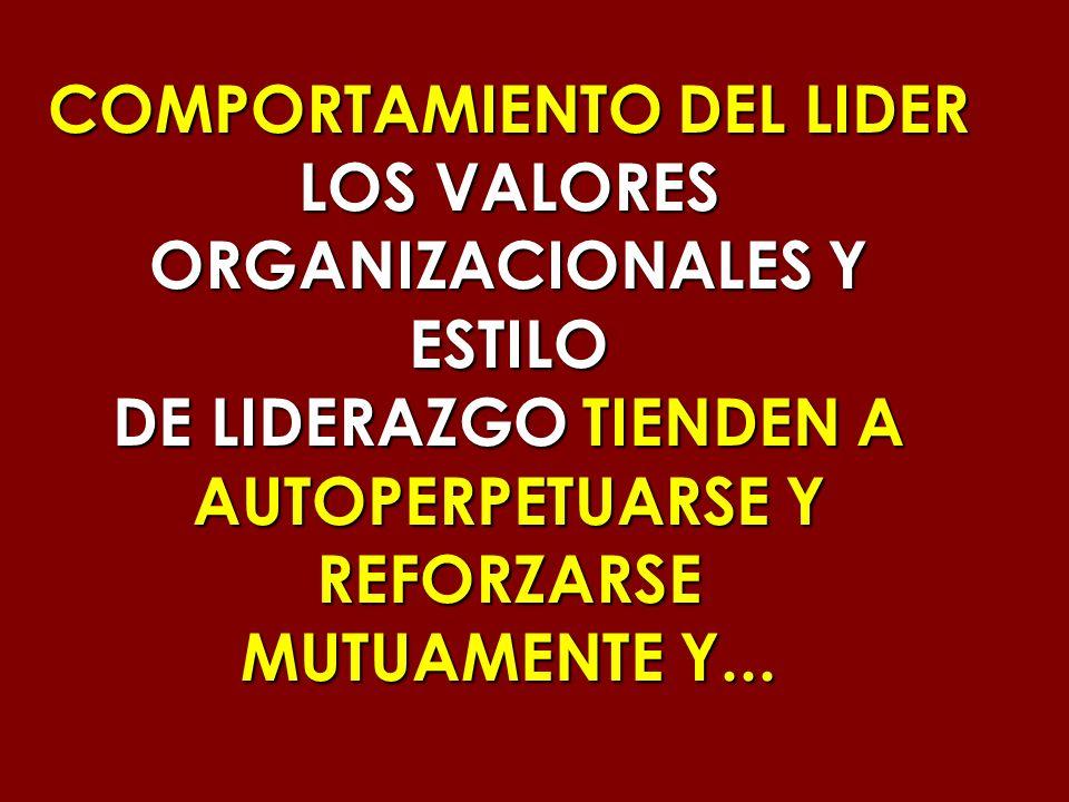 COMPORTAMIENTO DEL LIDER LOS VALORES ORGANIZACIONALES Y ESTILO DE LIDERAZGO TIENDEN A AUTOPERPETUARSE Y REFORZARSE MUTUAMENTE Y...