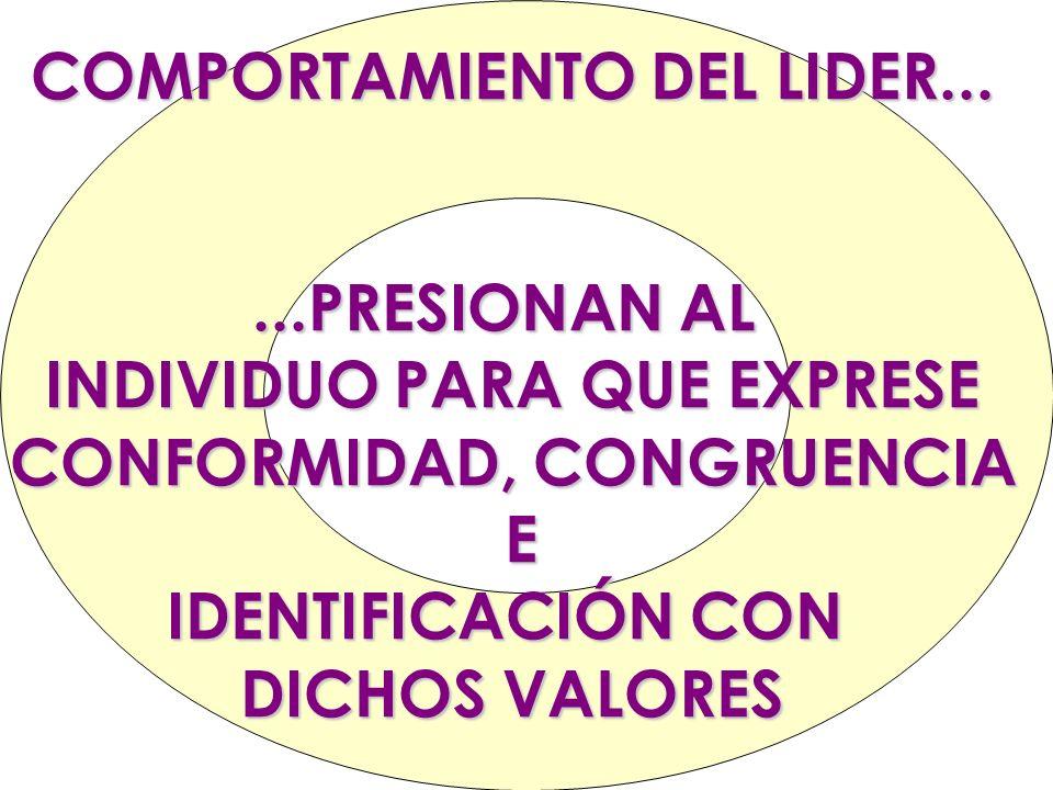 COMPORTAMIENTO DEL LIDER......PRESIONAN AL INDIVIDUO PARA QUE EXPRESE CONFORMIDAD, CONGRUENCIA E IDENTIFICACIÓN CON DICHOS VALORES