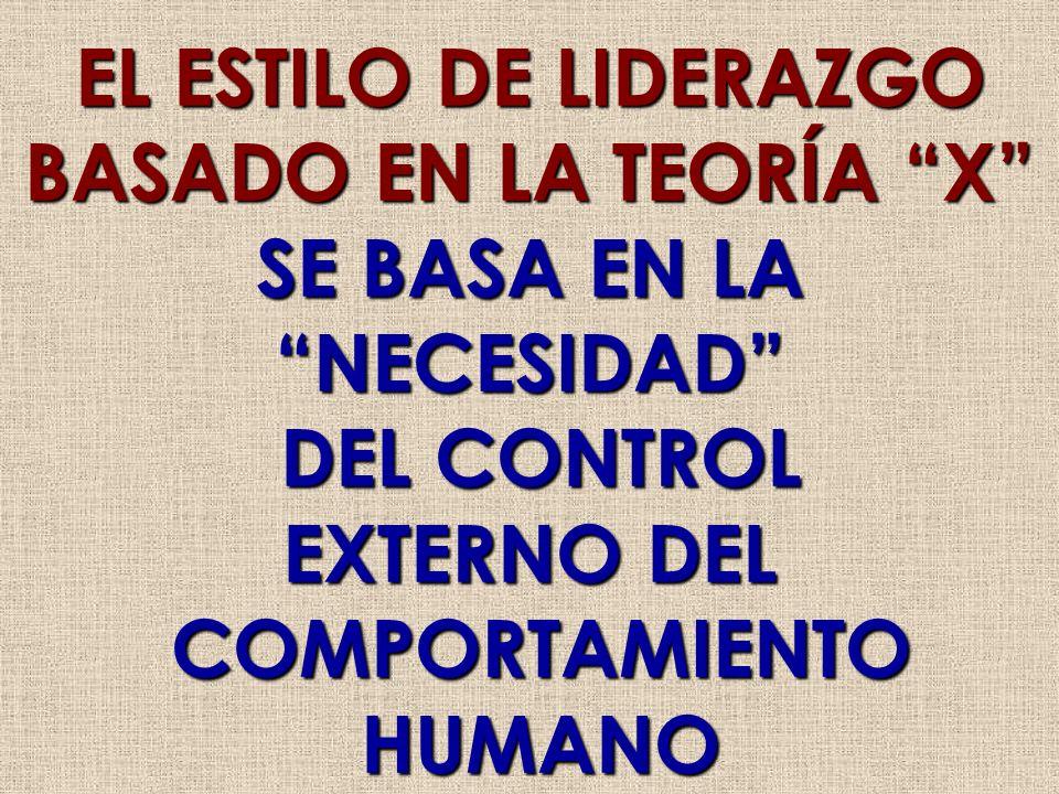 EL ESTILO DE LIDERAZGO BASADO EN LA TEORÍA X SE BASA EN LA NECESIDAD DEL CONTROL DEL CONTROL EXTERNO DEL COMPORTAMIENTO COMPORTAMIENTO HUMANO HUMANO