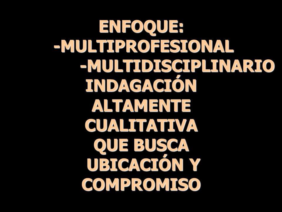 ENFOQUE: -MULTIPROFESIONAL -MULTIPROFESIONAL -MULTIDISCIPLINARIO -MULTIDISCIPLINARIOINDAGACIÓNALTAMENTECUALITATIVA QUE BUSCA UBICACIÓN Y UBICACIÓN YCO